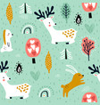 seamless childish pattern with jumping rabbits vector image
