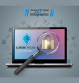 security notebook loupe lock icon vector image vector image