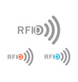 set from the gray rfid logo with the image of the vector image vector image