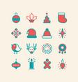 set of christmas design stylish decorative icons vector image vector image