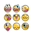 set of expression emoticons set of kawaii emoji vector image