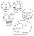set skull cartoon vector image vector image