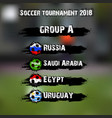 soccer tournament 2018 group a vector image