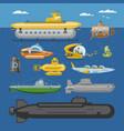submarine sea pigboat or marine sailboat vector image vector image