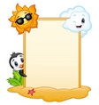 summer signboard with penguin sun character and s vector image