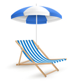 Sun beach umbrella with beach chair isolated on vector image vector image