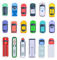 top view public transport taxi and police car vector image vector image