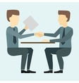 Two businessmen shaking hands and negotiate vector image vector image