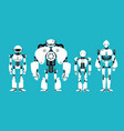 various robot androids cute cartoon futuristic vector image