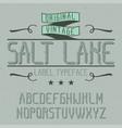 vintage label font named salt lake vector image vector image