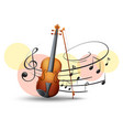 violin with music notes in background vector image vector image