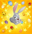 white easter bunny background vector image vector image