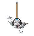 with headphone mop mascot cartoon style vector image