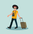 a man with luggage going to the airport vector image vector image