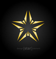 abstract broken gold star on black background vector image vector image