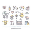 baby shower line icons with editable stroke vector image