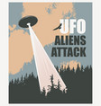 banner with a flying ufo over forest vector image vector image
