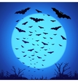 Black bats silhouettes on big blue moon at dark vector image vector image