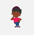 black boy in jeans waving happy vector image