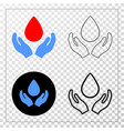 blood care hands eps icon with contour vector image