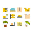 box icon set flat style vector image vector image