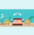 bright colors elegant bedroom interior with vector image vector image