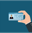 businessman holding id card vector image vector image