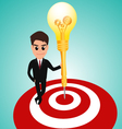 Businessman in target area whit dart lightbulb vector image vector image