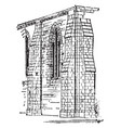 buttress built vintage engraving vector image vector image