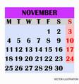 calendar design month november 2019 vector image vector image