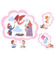 children reading fairy tail fantasy books kids vector image