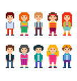 collection of cute characters pixel style vector image
