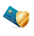 Credit card with shield vector image vector image