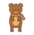 cute bear standing with scarf autumn on white