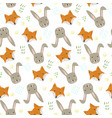 cute cartoon pattern with fox hare and grass vector image vector image