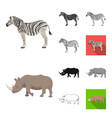 different animals cartoonblackflatmonochrome vector image vector image