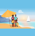 family happy people stand under beach umbrella vector image vector image