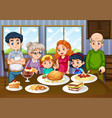 family having meal together in dining room vector image vector image