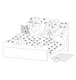 fat people in bed - black and white image vector image vector image