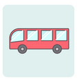 flat outlone red bus icon vector image vector image