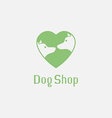 Flat pet shop logo with dogs in love vector image