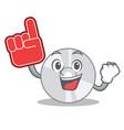 foam finger cd mascot cartoon style vector image vector image