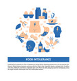 food intolerance round concept banner template in vector image