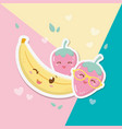 fresh strawberry and banana fruits kawaii vector image