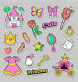 girl princess badges patches stickers with crown vector image vector image