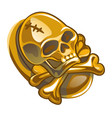 gold pirate symbol in form human skull and vector image vector image