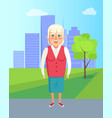 grandmother walking in park granny outdoors vector image vector image