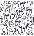 hand dawn faces seamless pattern ink vector image