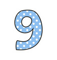 hand drawn number 9 with polka dots on pastel blue vector image vector image