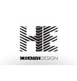 he h e lines letter design with creative elegant vector image vector image